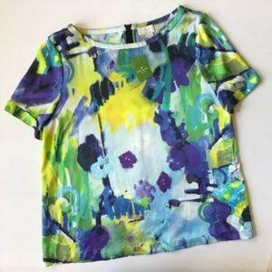 Kate Spade Silk Zipper-back Abstract Print Top
